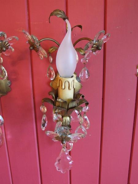 L035 - Pair Pretty Vintage Italian Toleware & Crystal Wall Lights.