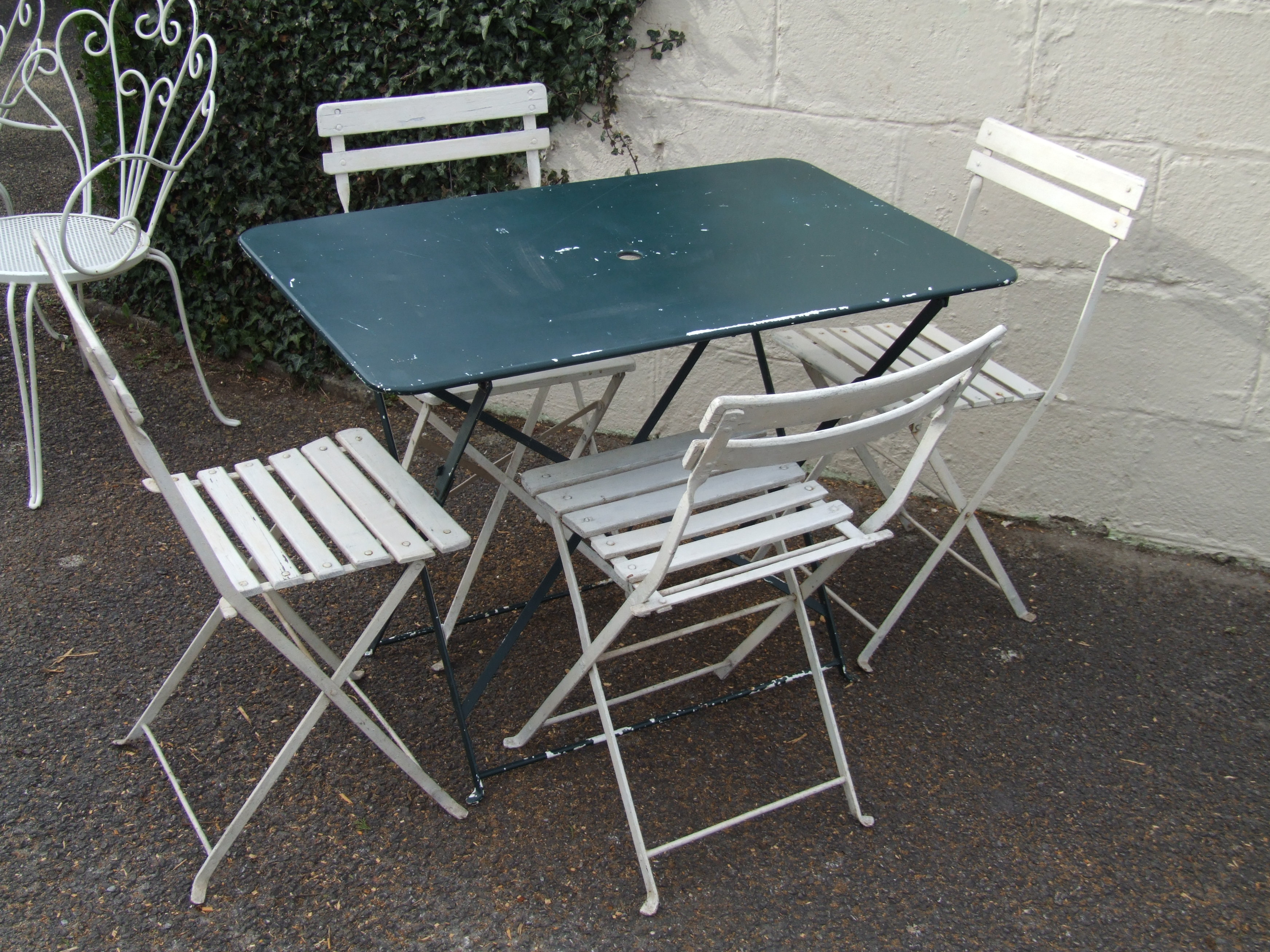 g084 s pair vintage french folding garden patio cafe chairs la