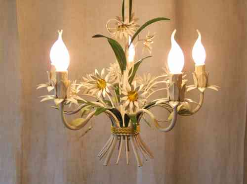 L070 - Vintage Italian 5 Arm Painted Toleware Daisy Ceiling Light / Chandelier