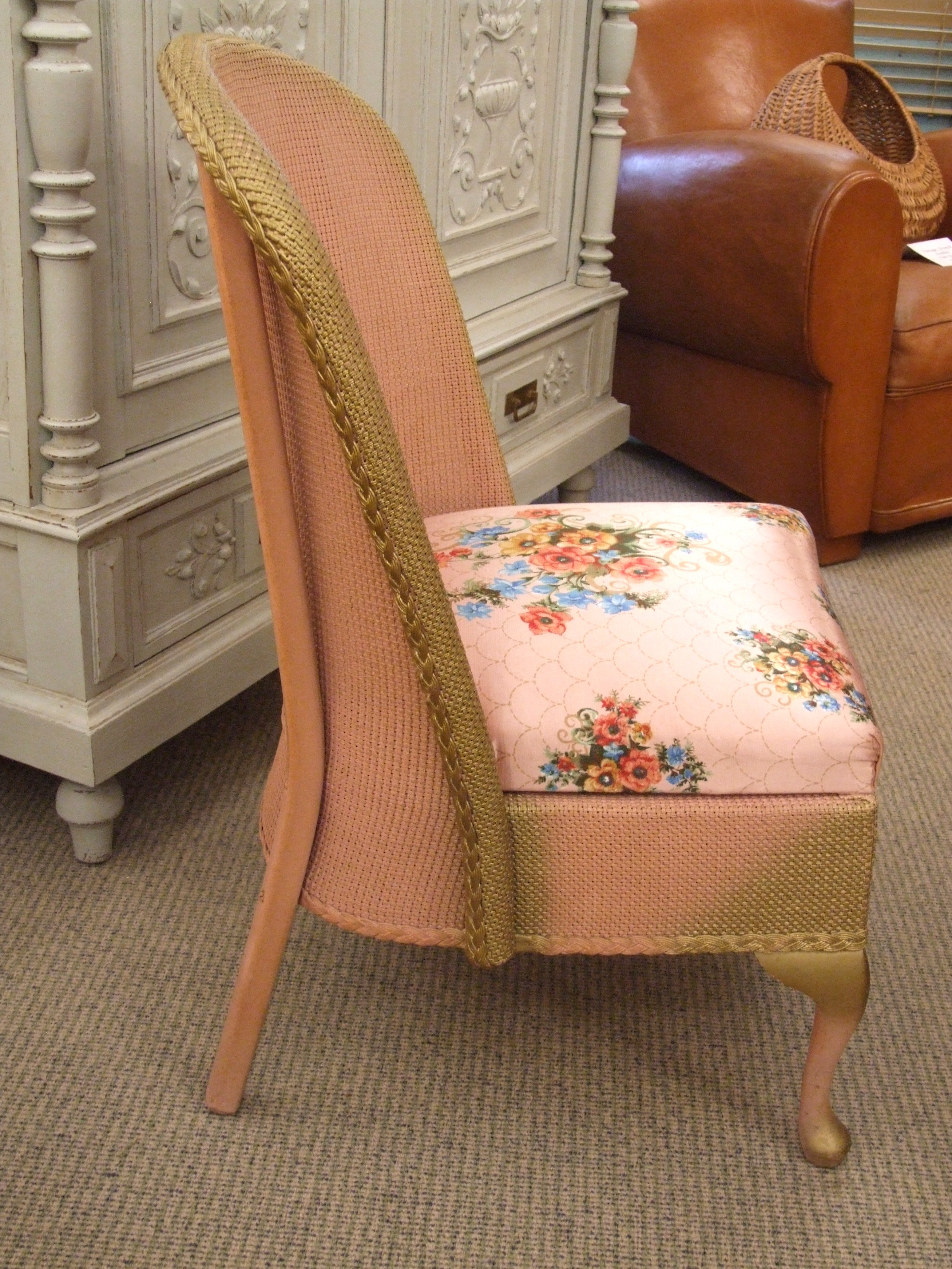 vintage pink bedroom chair and ottoman set c1950 la belle toffe