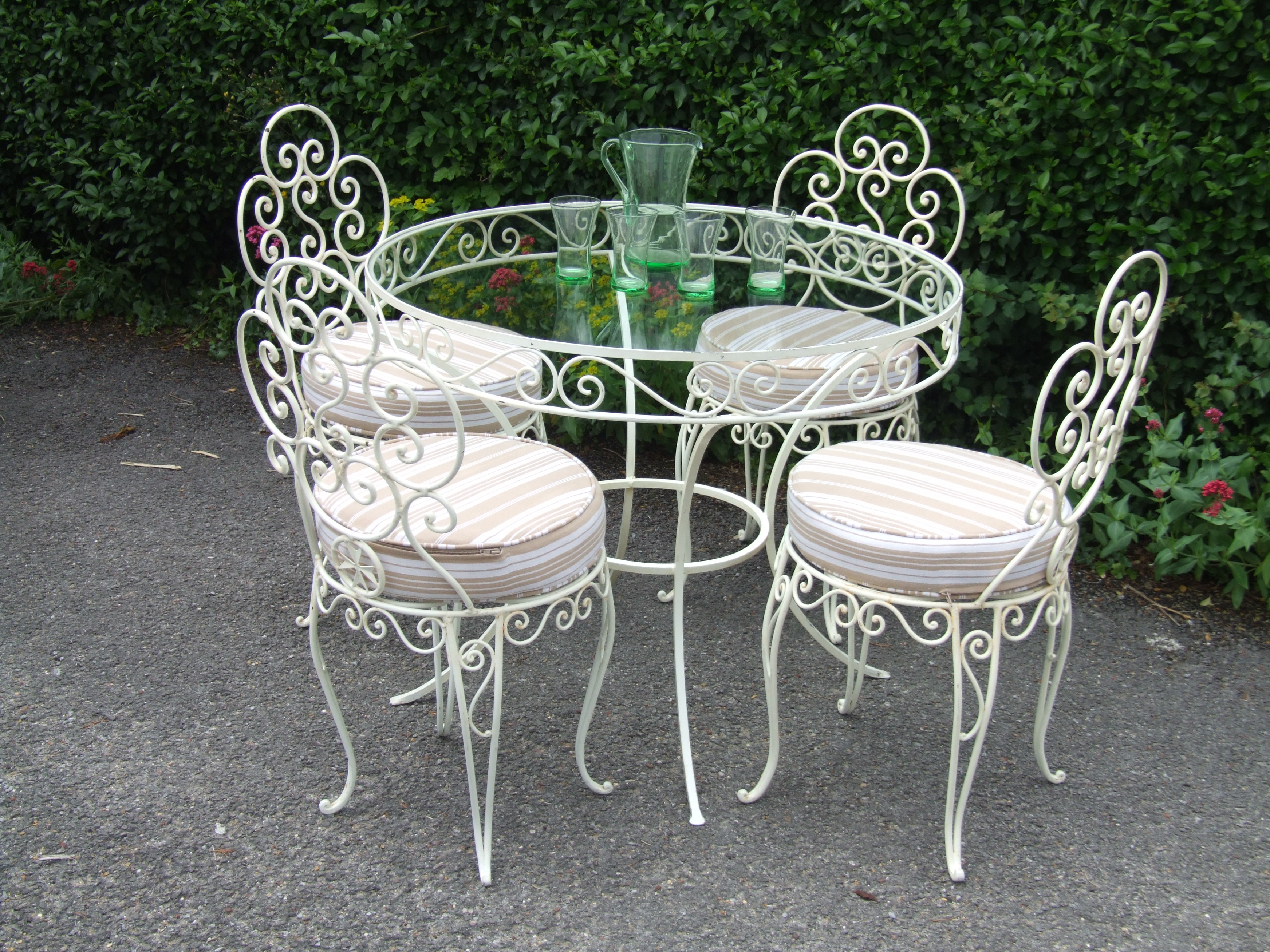 french wrought iron conservatory patio caf table and 4 chairs