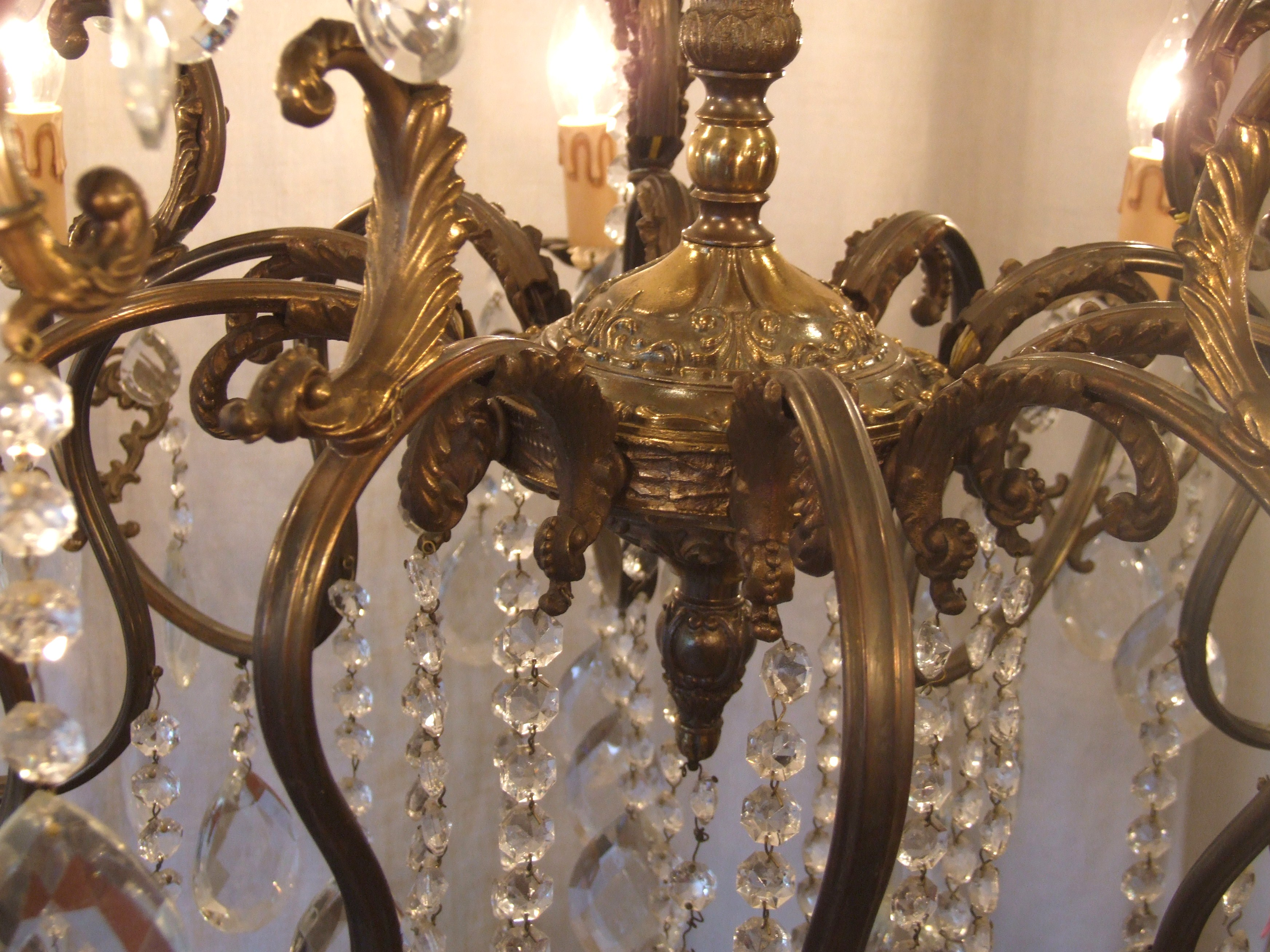 L156 S Huge Antique Italian 10 Arm 15 Light Brass And