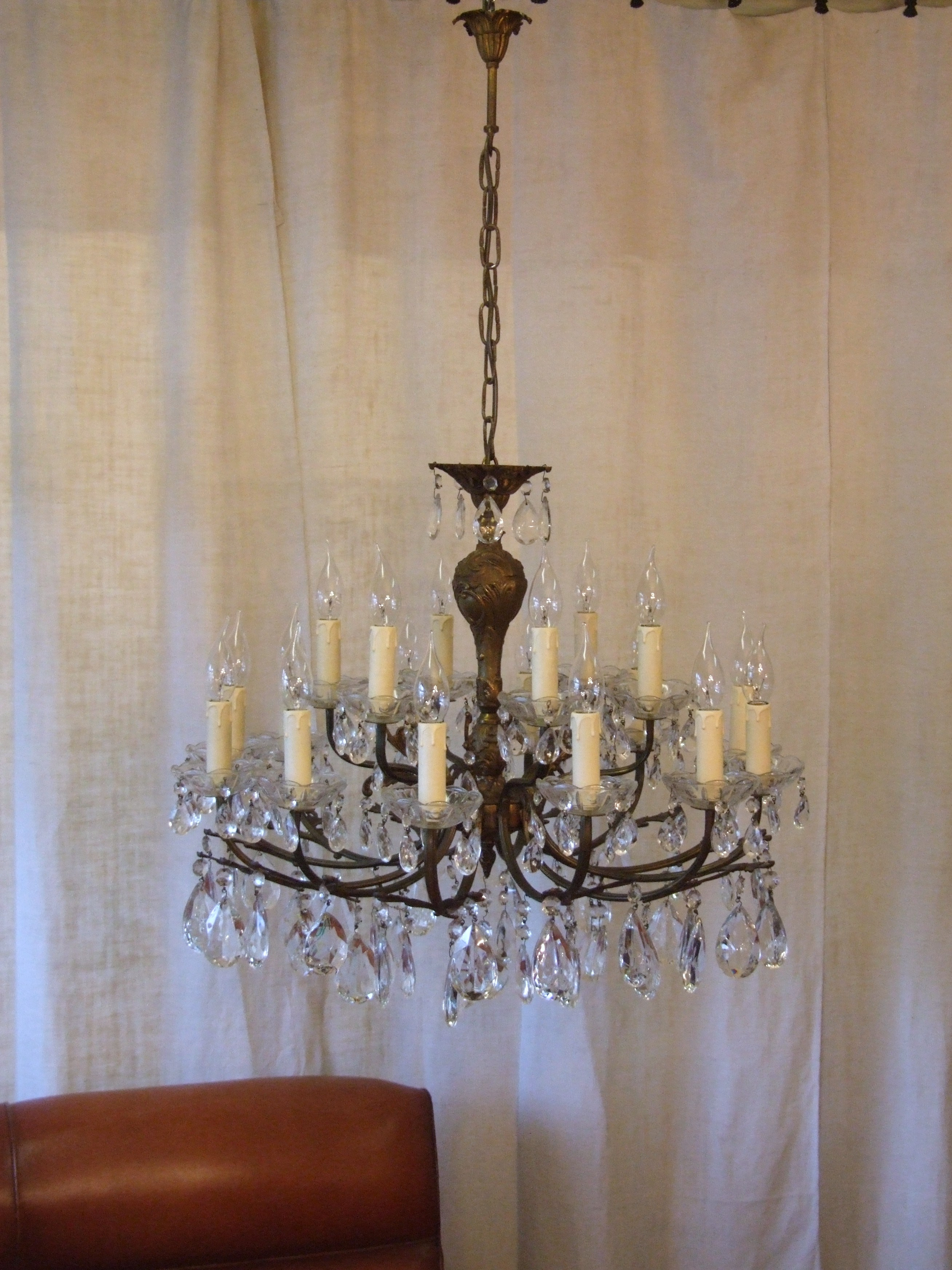 L162 S Large Antique French 12 Arm 18 Light Brass And