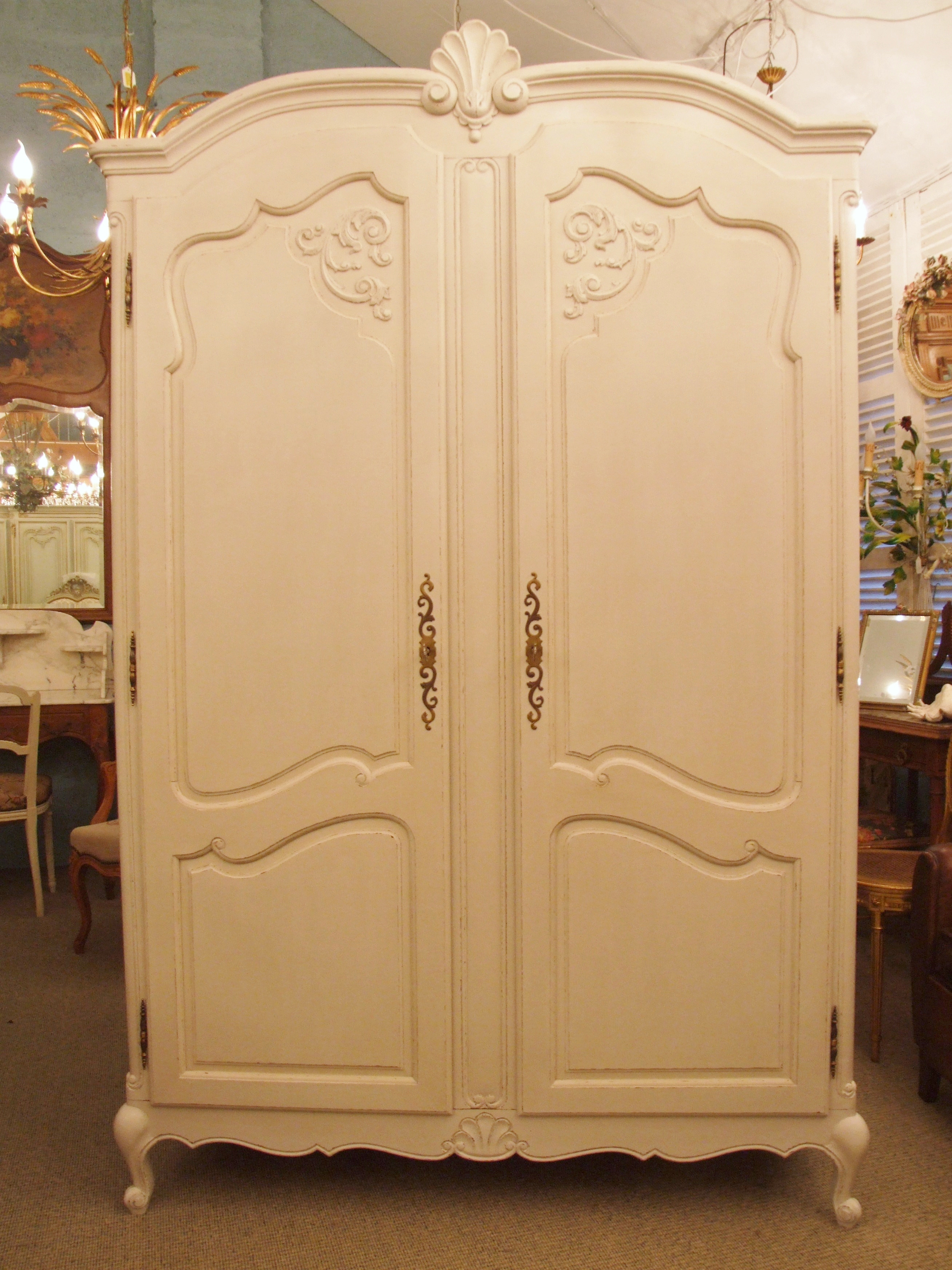 F598 S Beautiful Vintage French 2 Door Painted Armoire
