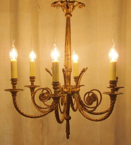 L192 - Spectacular Vintage Italian Empire Style Brass 6 Arm Chandelier