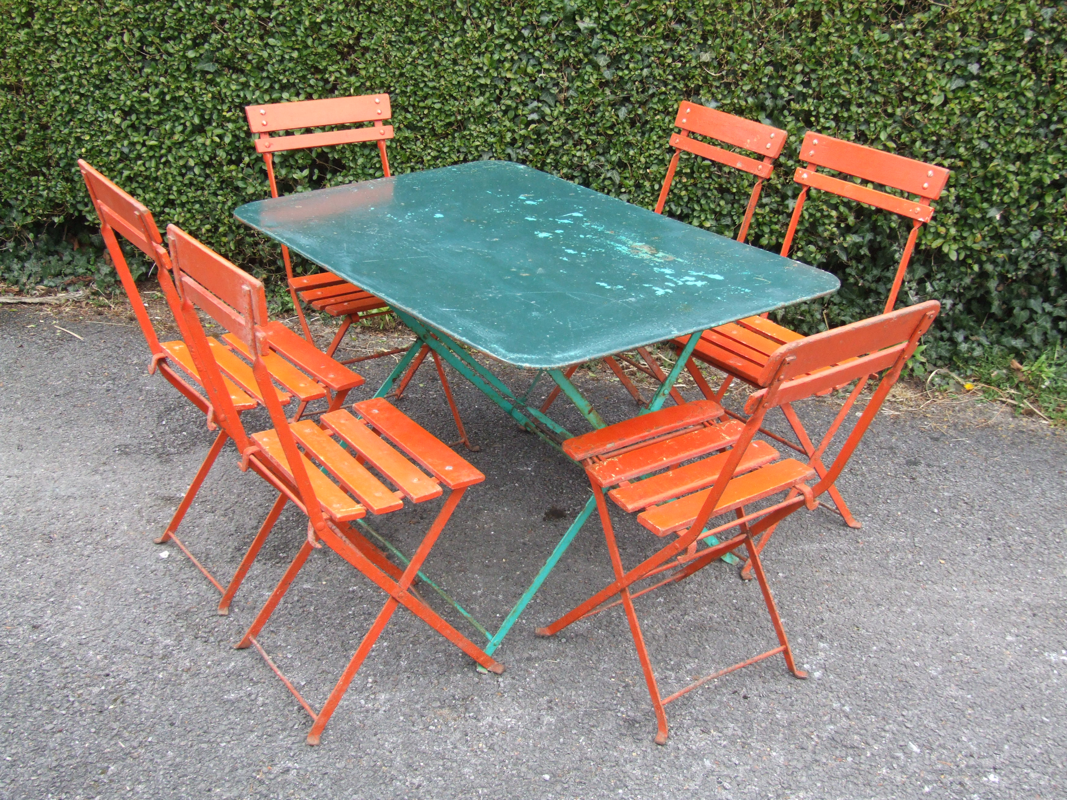 G214 s vintage french 6 seater folding metal garden caf patio table la belle toffe French metal garden furniture