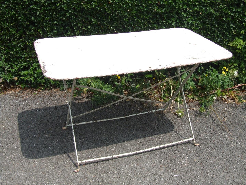 G249 S Vintage French 6 Seater Folding Metal Garden