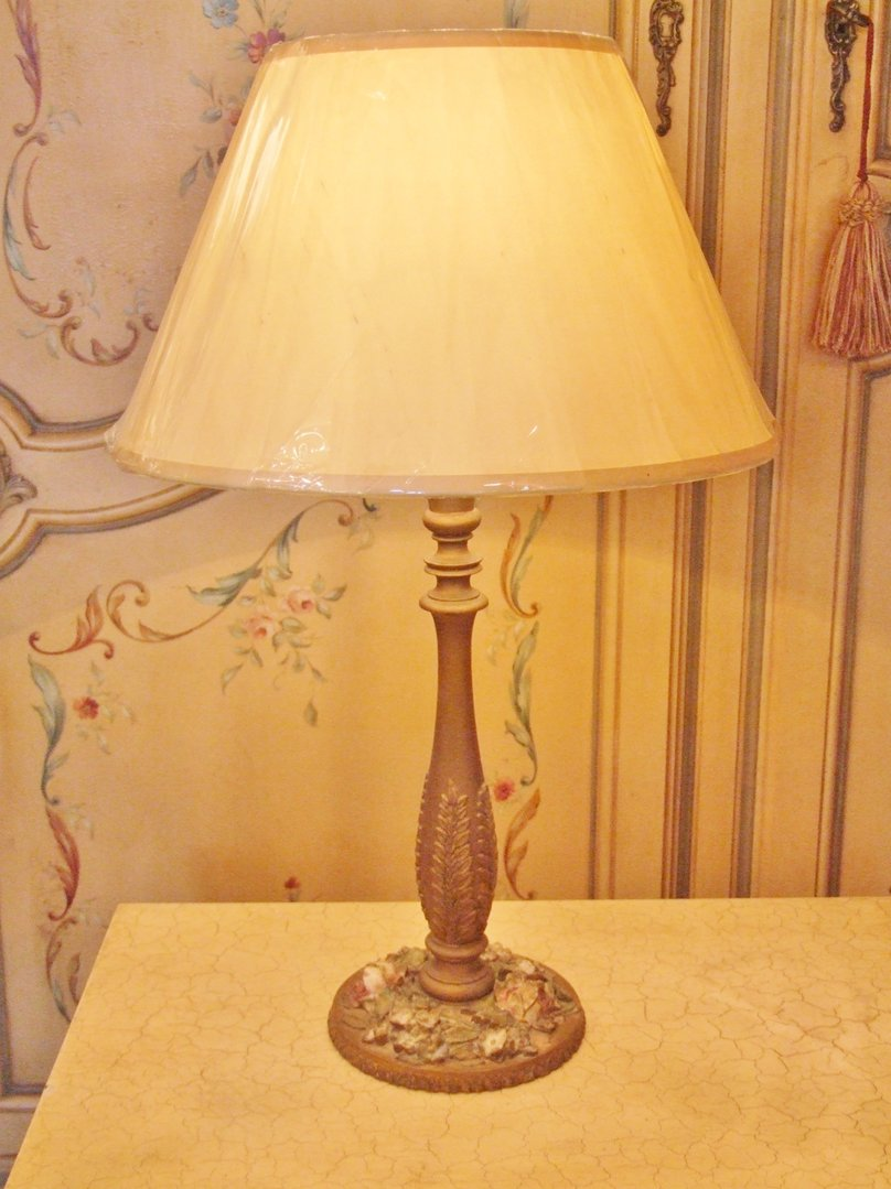 Tl053 S Beautiful Antique English Barbola Table Lamp