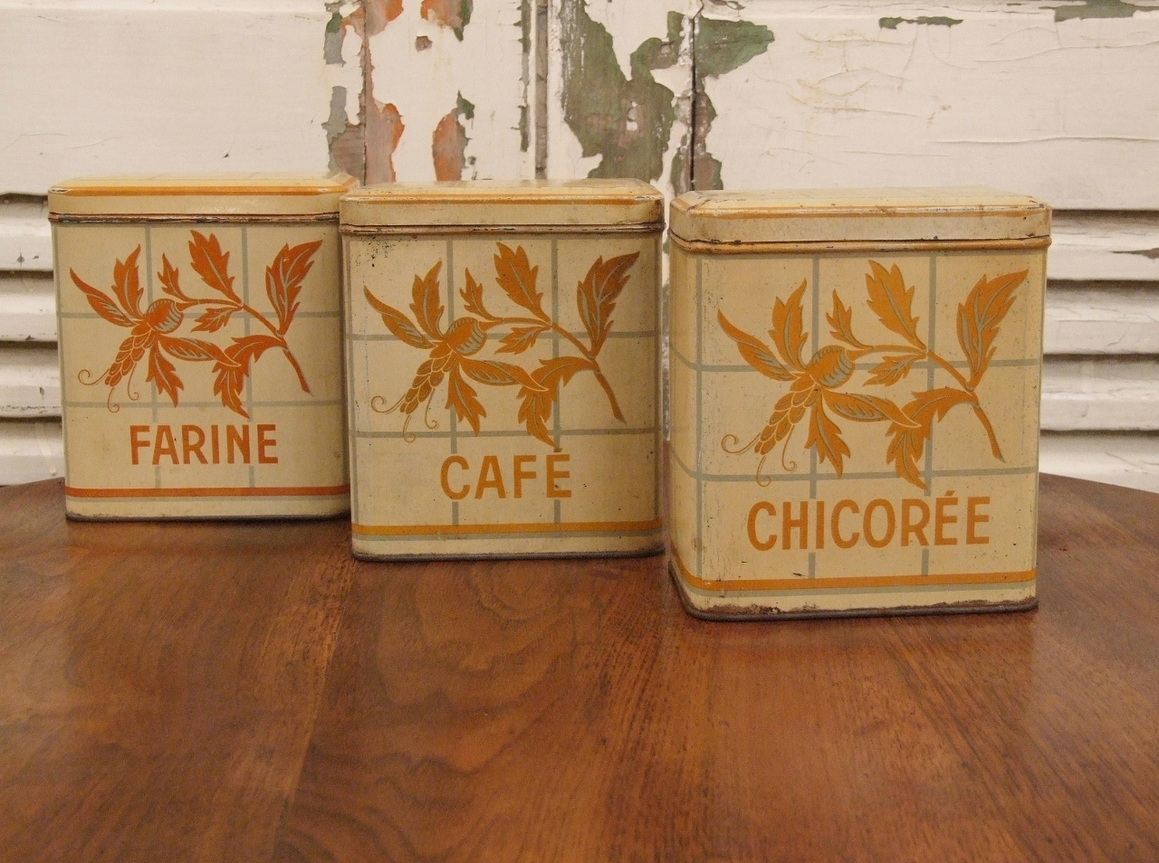B986 - Charming Set 3 Vintage French Art Deco Kitchen / Food Storage Tins C 1930