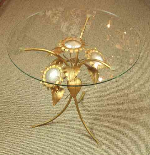 F683 - Sublime Vintage Italian Sunflower Coffee / Lamp Table With Glass Top