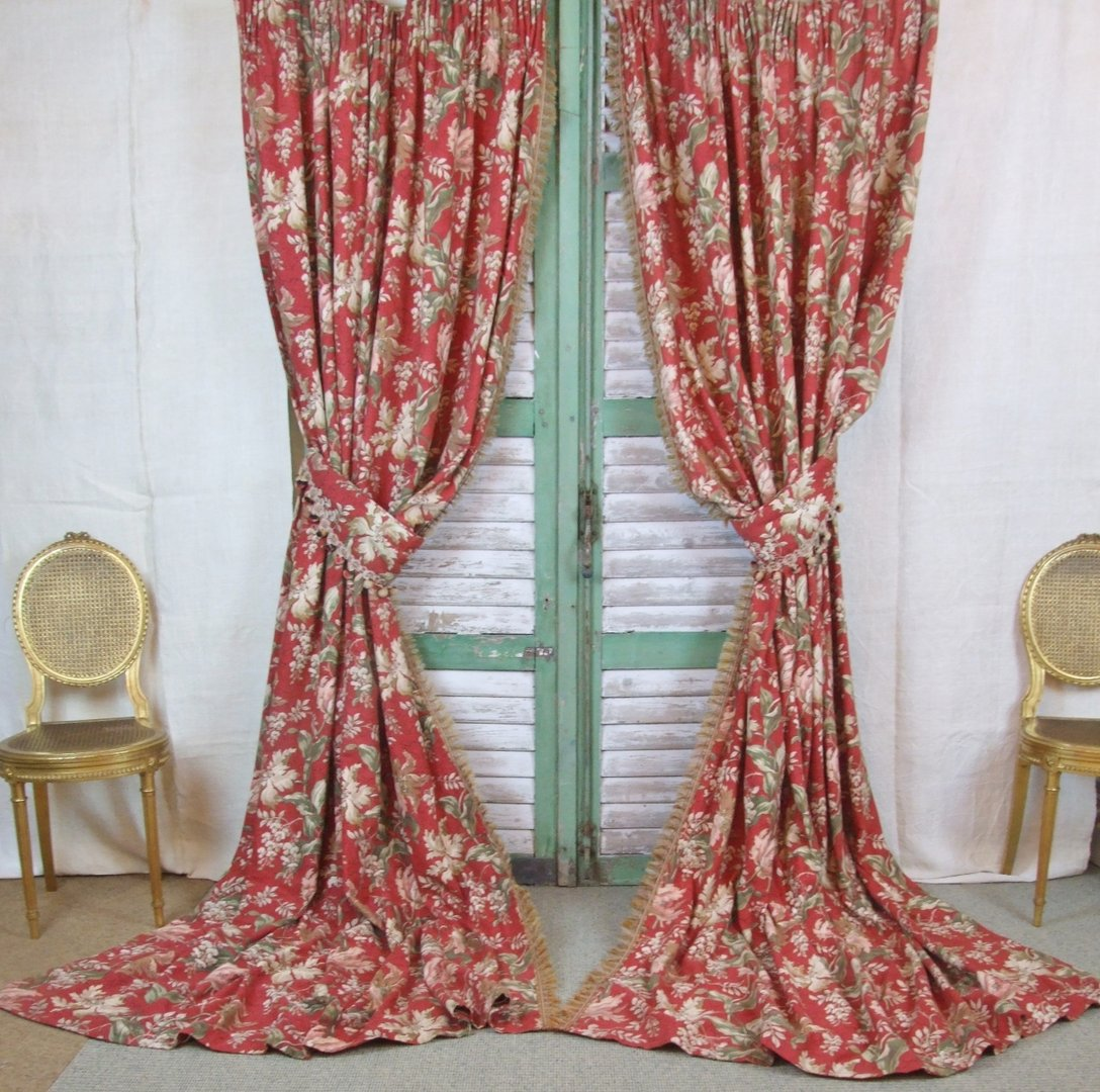 Kitchen Collectables Store B360 S Gorgeous Pair Antique French Chateau Curtains