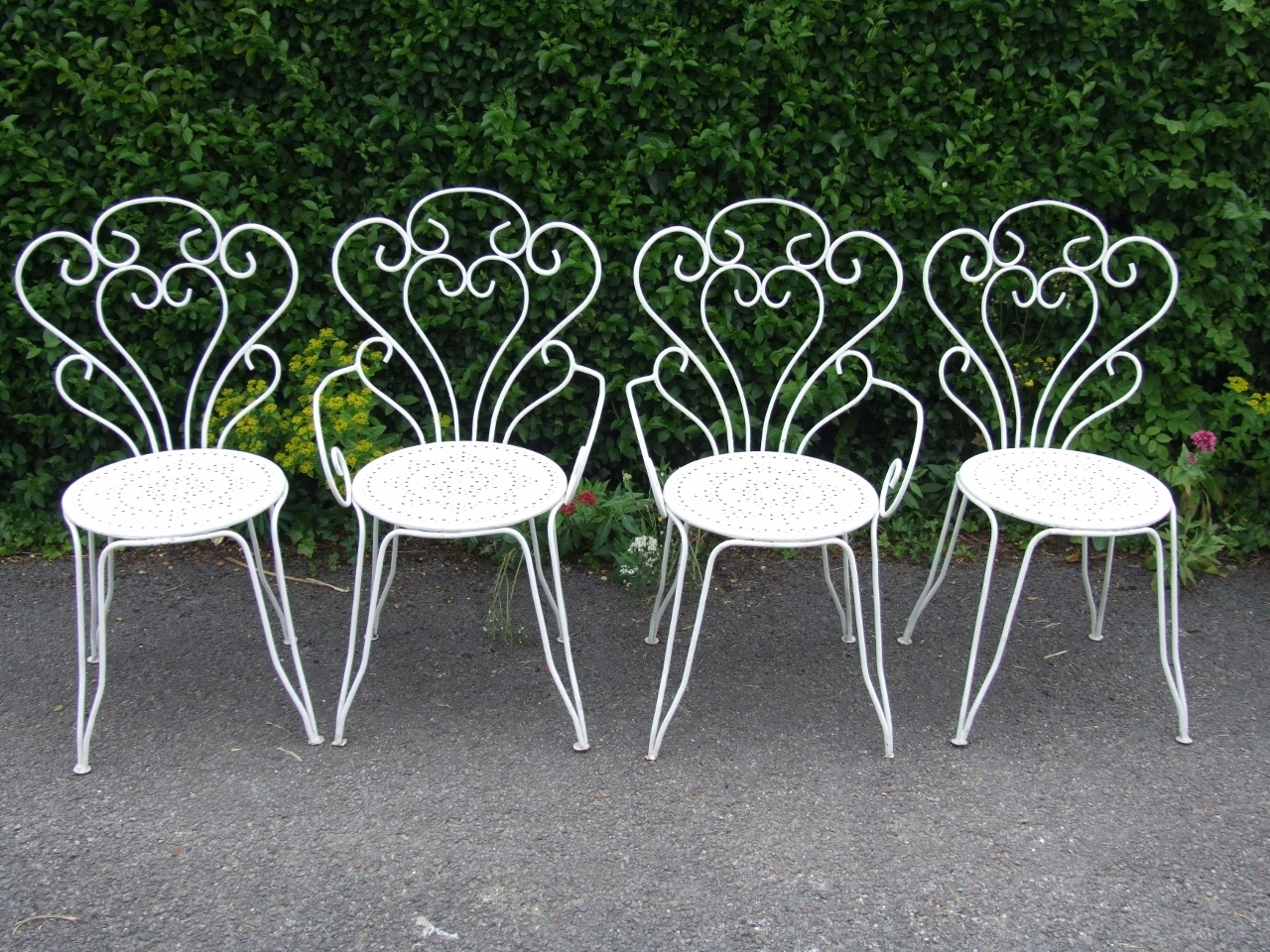 G274 s elegant vintage french wrought iron garden table 4 chairs set la belle toffe French metal garden furniture