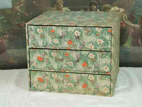 B367 - Divine Vintage French Fabric Covered Boudoir Box With Drawers, C1950