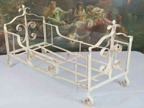 B373 - Adorable Vintage French Folding Wrought Iron Doll's Bed C1950