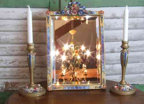 P104 - Beautiful & Rare Antique English Barbola Mirror & Candlestick Set, C1930