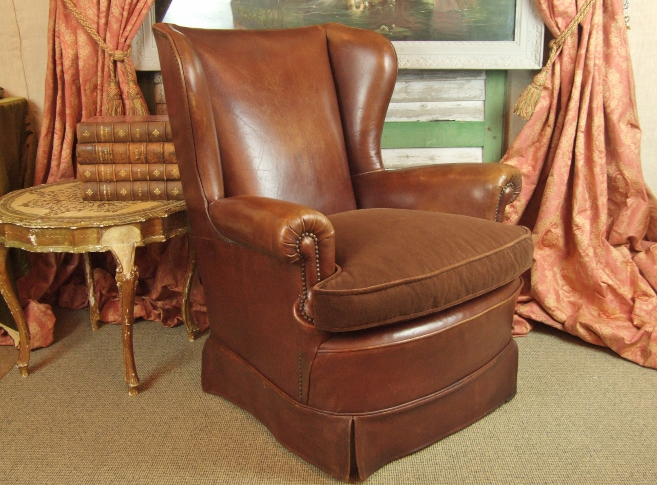 F725 - Superb Vintage French Wing Back Leather Club Chair With Studded Detail
