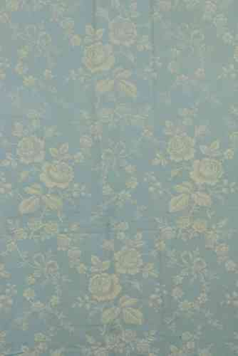 B530 - Sublime Large Panel Antique French Damask Ticking, Roses & Bows