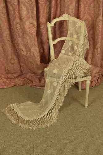 B558 - Sublime Antique French Embroidered Lace Pelmet / Shawl, Silk Tassels, 19th C