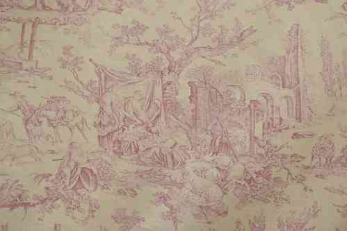 B556 - Divine Antique French Toile De Jouy Portiere / Curtain, Pastoral Scenes, 19th C
