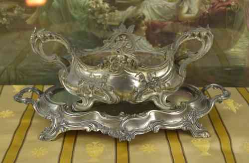 B561- Divine Antique French Spelter Jardiniere & Mirrored Tray Set, 19th C Grandeur