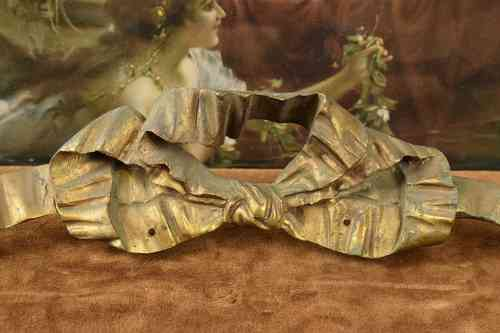 B589 - Beautiful Antique French Ormolu Mount, Ribbon & Bow, C1880