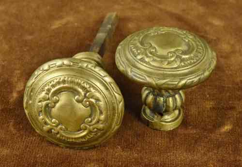 B598 - Gorgeous Pair Antique French Napoleon III Brass Door Handles C 1860