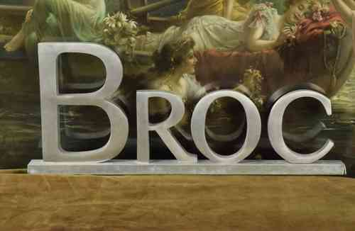 B623 - Funky Antique French Art Deco Aluminium Broc / Brocante Sign, C1930