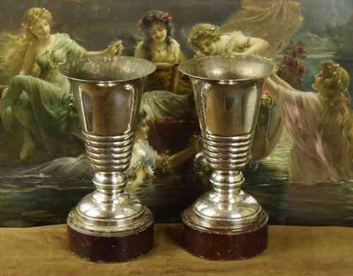 B624 - Superb Pair Antique French Art Deco Silver Plated Urns On Wood Plinth C1930