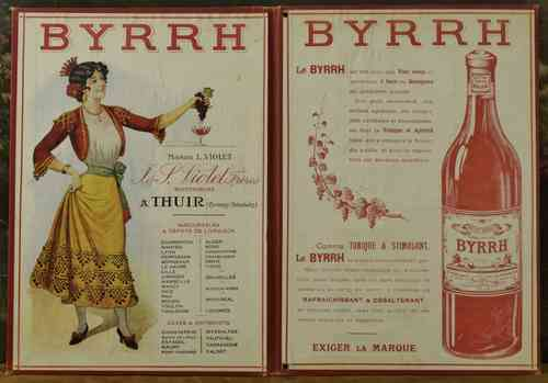 B625 - Charming Antique French Menu Cover Advertising Byrrh Aperitif, Early 1900's