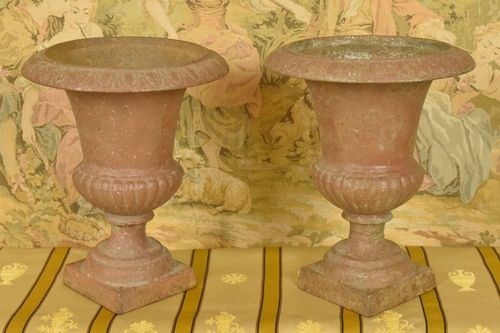 B642 - Fabulous Pair 19th C Antique French Cast Iron Garden Urns, Florist's Dream