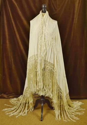 B656 - Exquisite Antique French Embroidered Silk Piano Shawl, Tasselled Fringe