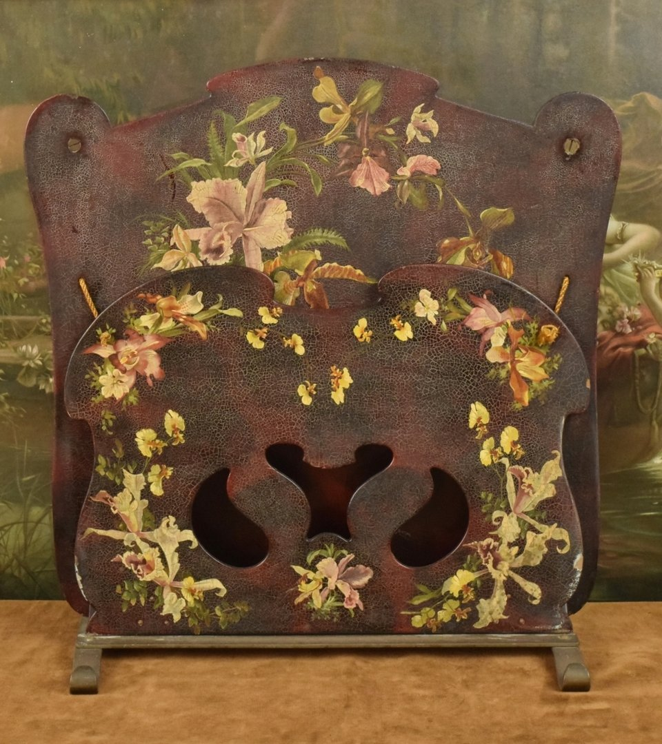 B682 - Divine Antique French Papier-mâché Magazine Rack, Hand Painted Orchids, C1900