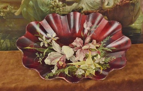B686 - Divine Antique French Papier-Mâché Fluted Bowl, Hand Painted Orchids, C1900
