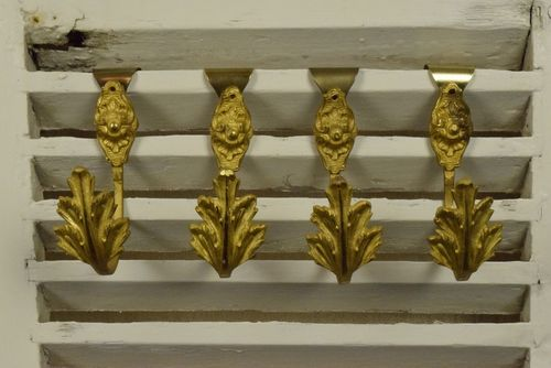 B694 - Divine Set 4 Petite Antique French Ormolu Curtain Tie / Hold Backs, C1880