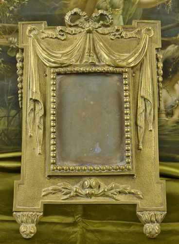 B718 - Magnificent Antique French Heavy Brass Picture / Photo Frame, Bow, Ribbon, Swags