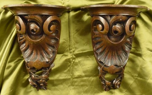 A031 - Gorgeous Pair Antique French Carved Oak Mounts / Plinths, 19th C Grandeur