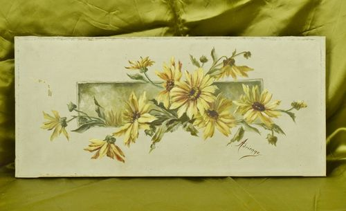 B724 - Charming Antique French Floral Oil Painting On Canvas, Atmospheric Piece, C1900
