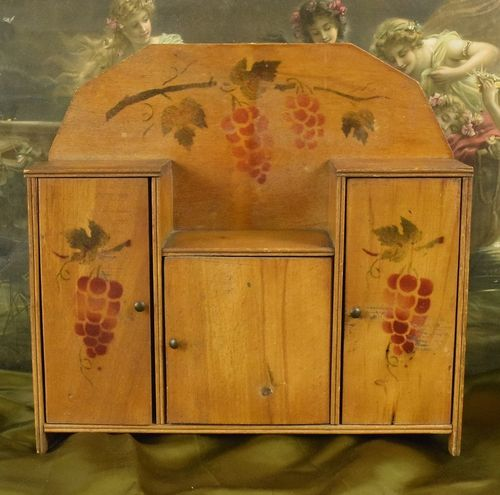 B725 - Sweet Antique French Petite Art Deco Cupboard, Grape & Vine Stencil C1920/30