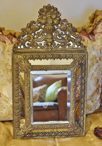 P113 - Superb Antique French Repousse / Toleware Rococo Style Cushion Mirror, 19th C