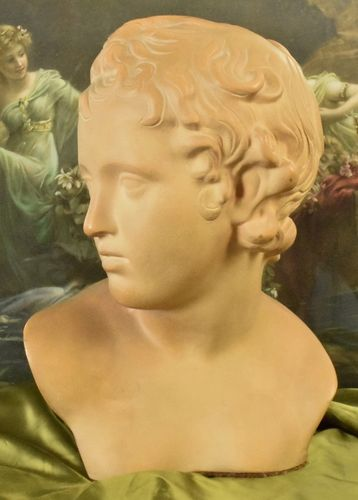 B741 - Stunning Antique French Architectural Terracotta Bust, Neoclassical Young Adonis