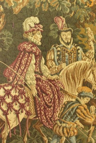 B745 - Magnificent Antique French Hunting Scene Tapestry Wall Hanging, Wool & Silk, 19thC