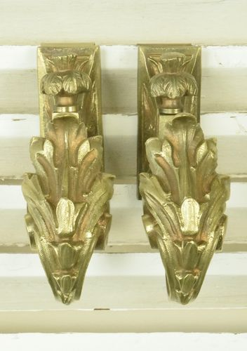 B760 - Stunning Pair Antique French Ormolu Curtain Tie / Hold Backs