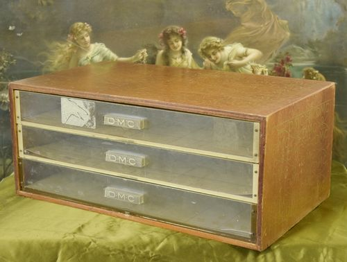 B767 - Charming Antique French 3 Drawer Haberdashery / Mercerie Cabinet, DMC C1930