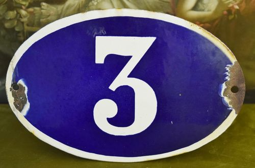 B768 - Large Antique French House Number 3 Sign / Plaque, Blue Enamel On Steel