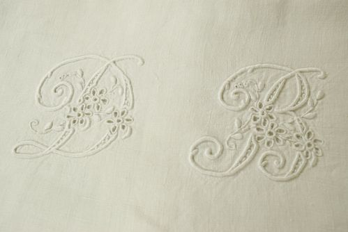 B776 - Divine Antique French Linen Trousseau Sheet, D & B Monogram, 19th C