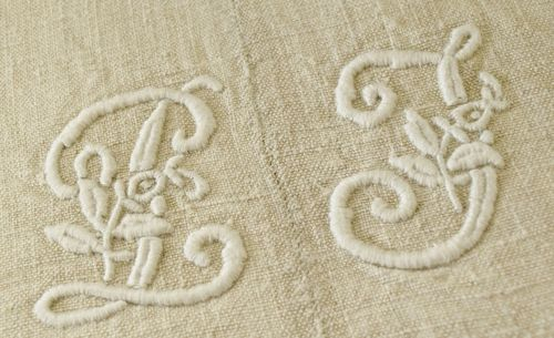B777 - Fabulous Antique French Linen Trousseau Sheet, P & J Embroidered Monogram, 19th C
