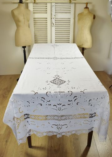 B784 - Exquisite Antique French Hand Made Lace, Linen Broderie Anglais Tablecloth 19thC