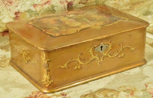 B792 - Sublime Antique French Lacquered Gilded Trinket, Keepsake Box, Napoleon III, C1860