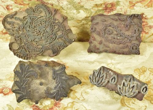 B793 - Collection 4 Antique French Cotton Indienne Hand Printing Wood Blocks C1850