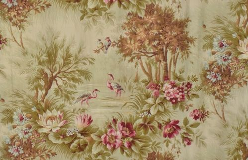 B804 - Gorgeous Antique French Printed Cotton Portiere / Curtain,Exotic Birds & Flowers